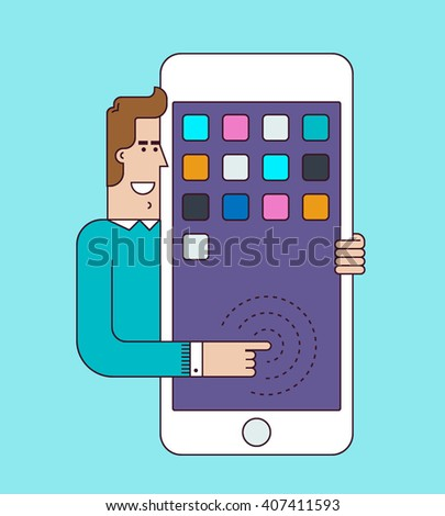 Man holds a big smartphone. Mobile technology, connection, communication concept. Flat vector illustration. - stock vector
