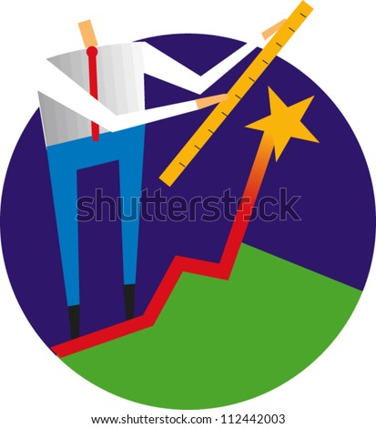 Man holds a yardstick to measure the height of a star at the top of a line from a chart - stock vector