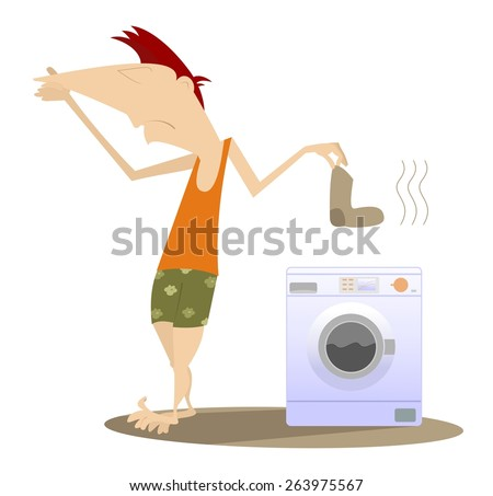 Man holds his nose and going to wash dirty laundry - stock vector