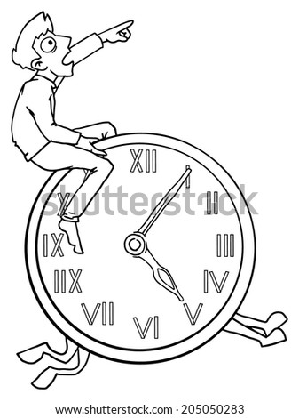 Man in a hurry, riding a clock, time management concept, vector illustration  - stock vector