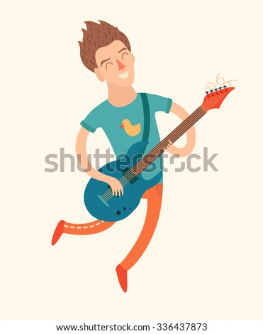 Man in a jump, playing electric guitar, vector illustration  on white background - stock vector