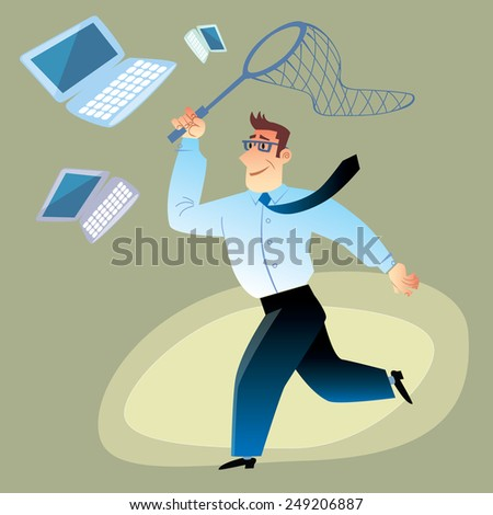 Man in business clothes catches computers, laptops and smartphones in the net for butterflies. Discounts and sales - stock vector