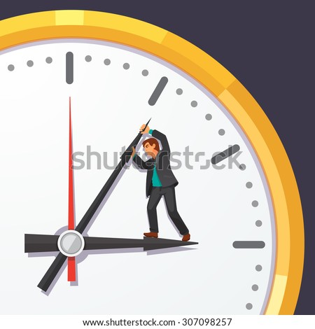 Man in business suit trying to stop time. Stopping minute hand on a big clock on the wall. Immortality and business deadline concept. Flat style vector illustration on blue background. - stock vector
