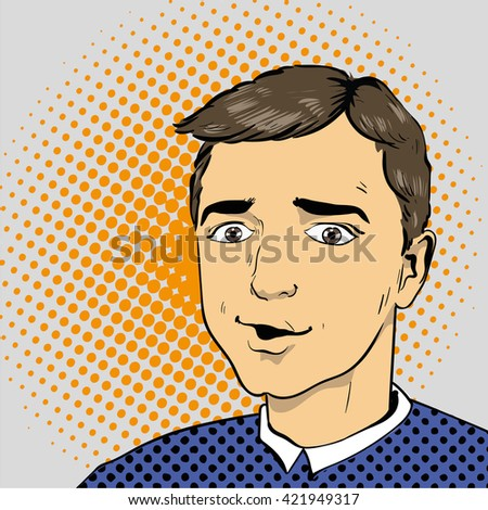 Man in comics retro pop art style. Vector illustration. - stock vector