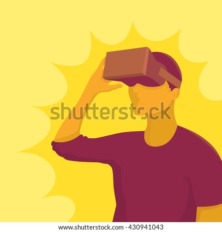 Man in device for virtual reality. Vector illustration - stock vector