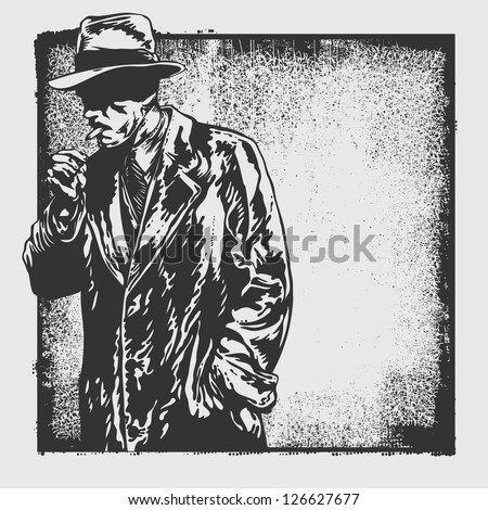 man in hat and abstract drawing background and grunge frame. vector illustration. drawing style. - stock vector