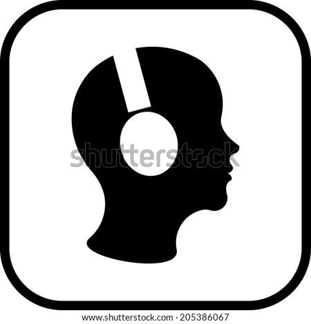 Man in headphones vector icon - stock vector