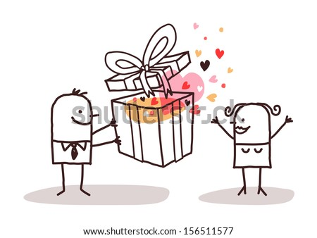 man in love giving a present to a woman - stock vector