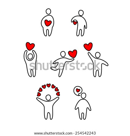 man in love with red heart - stock vector