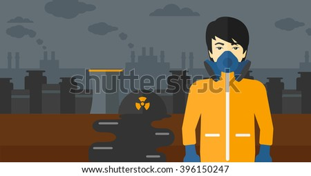 Man in protective chemical suit. - stock vector