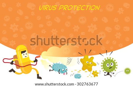 Man in Protective Suit Run Spraying Germ Characters, Bacteria, Virus, Microbe, Pathogen - stock vector