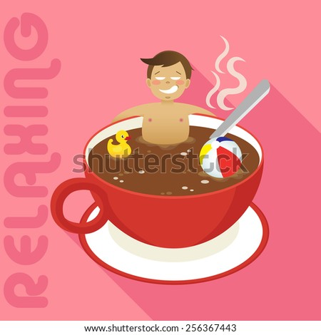 man in red cup of hot coffee with long shadow - stock vector