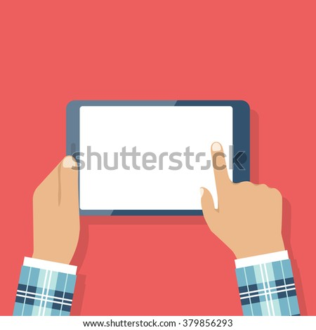 Man in stylish suit holding tablet in hands. Flat design, vector. Modern technologies. Blank touchscreen. Using. Reader. Finger touches screen. Banner web, mobile app. Icon tablet in hands isolated - stock vector