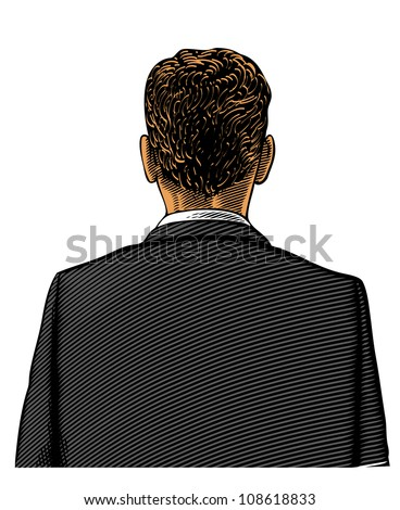 Man in suit from back or rear view in engraved style on transparent background - stock vector
