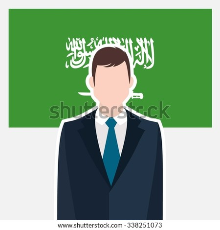 Man in suit Front of Saudi Arabia Country Flag. business man Presentation conference concept. Modern flat design vector illustration. Country Flag background - stock vector