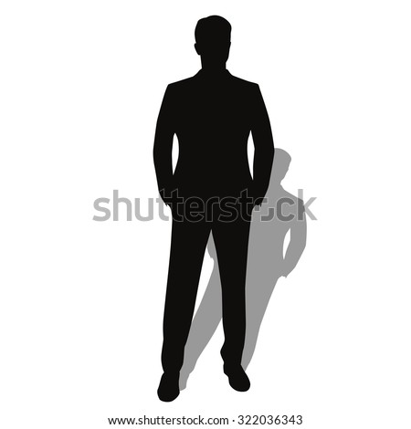 Man in suit. Hands in pockets. Vector silhouette - stock vector