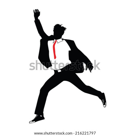 man in suit jumping vector illustration - stock vector