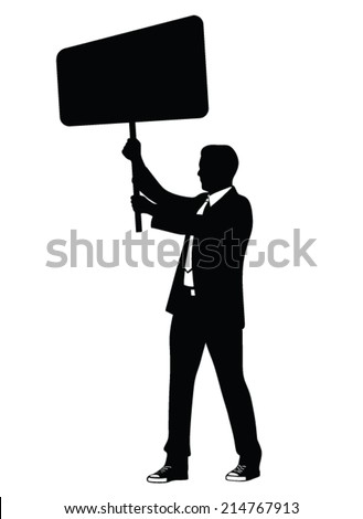 man in suit protesting vector illustration - stock vector