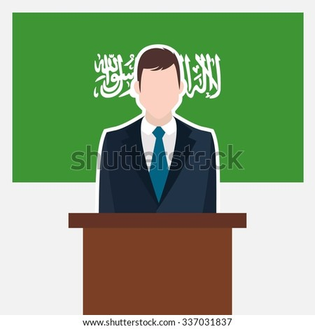 Man in suit standing at rostrum Front of Saudi Arabia Country Flag. business man Presentation conference concept. Modern flat design vector illustration. Country Flag background - stock vector