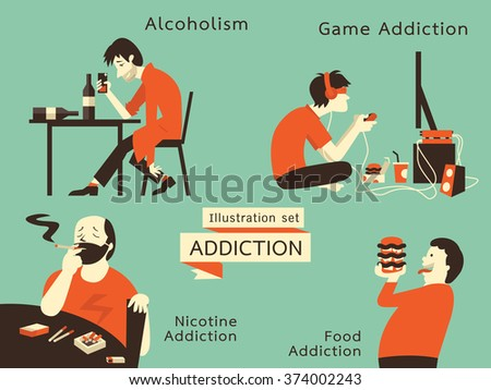Man in unhealthy addcition lifestyle, acoholism, nicotine addiction, game and food addiction. Vector illustration in vintage style. - stock vector