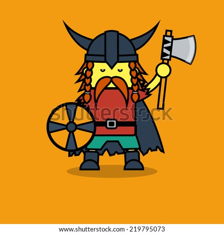Man in Viking suit for Leif Erikson Day. - stock vector