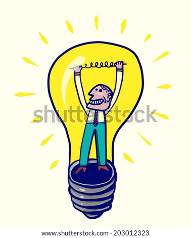 Man inside light bulb - stock vector