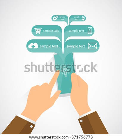 Man is communicate on his cell phone. Flat vector illustration. Isolated background.  - stock vector