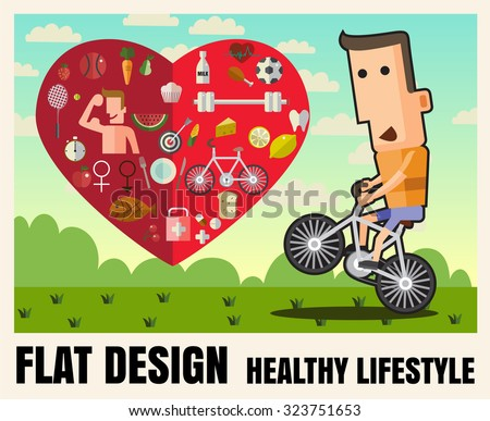 Man is riding bicycle healthy lifestyle,food ,Vector flat icon illustrations  format eps 10 - stock vector