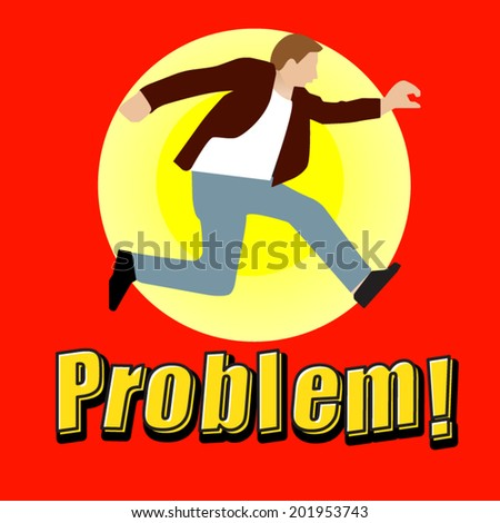 Man is try to jump over the problem - stock vector
