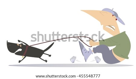 Man is trying to stop an angry dog - stock vector