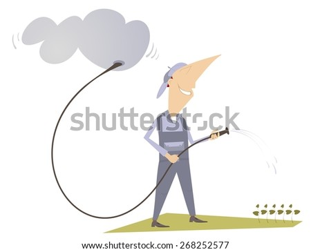 Man is watering a lawn with hose - stock vector