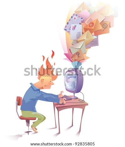 Man is working at the computer. He looks a bit nervous because he receive a lot of Spam messages... - stock vector