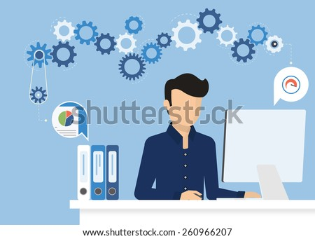 Man is working with computer. Flat modern illustration of working process at work desk. Vector young man character writing or typing email or study on computer. Working process with desk and gears - stock vector