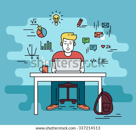 Man is working with laptop. Flat line contour illustration of student studying process sitting at home. Young man with social media and education infographics symbols such as chart, diagram, graph - stock vector