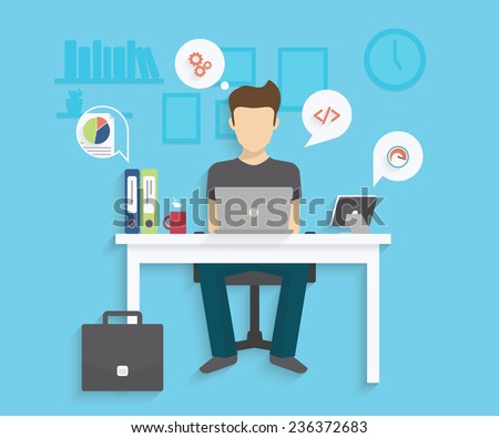 Man is working with laptop. Flat modern illustration of working process. Student is studying at his desk - stock vector