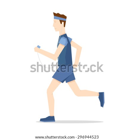Man jogging, sports, jogging. Healthy lifestyle. Flat style vector illustration. - stock vector