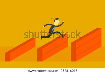 Man jump over the higher wall - stock vector