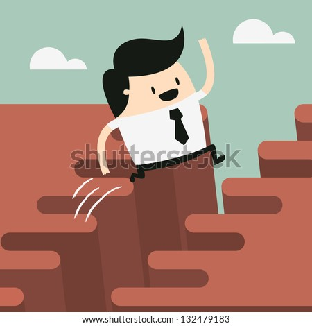 Man jump through the gap - stock vector