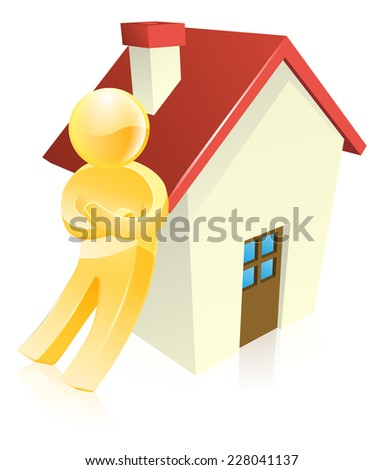 Man leaning on a house real estate concept - stock vector