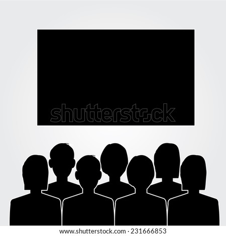 man look at the cinema  or movies icon vector,theater icon vector   - stock vector