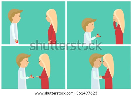 Man makes marriage proposal to girlfriend. Valentine's Day. Surprise for the girl diamond ring. Flat design people. - stock vector