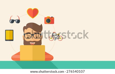 Man making a purchase using laptop with internet in online shopping with promo discount. A Contemporary style with pastel palette, soft beige tinted background. Vector flat design illustration - stock vector