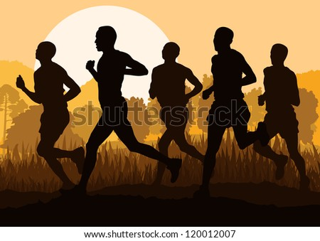 Man marathon runners in wild forest nature mountain landscape background illustration vector - stock vector