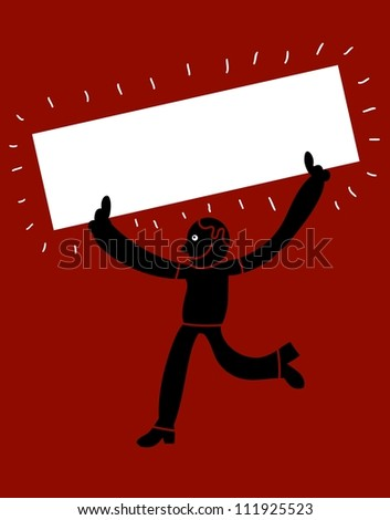 man march with empty banner - stock vector