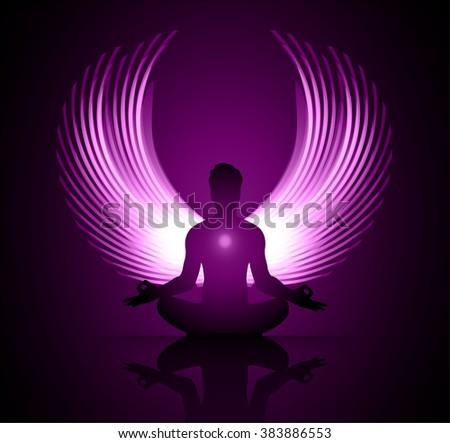 man meditate purple abstract radius background, yoga. angel wings - stock vector