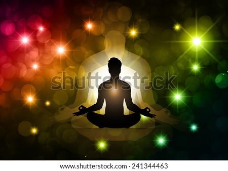 man meditate, yoga. star galaxy background. - stock vector