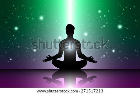 man meditation Dark green purple sparkling background with stars in the sky and blurry lights, illustration. Abstract, Universe, Galaxies, yoga. Male silhouette. - stock vector
