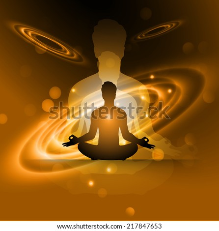 man meditation Dark orange sparkling background with stars in the sky and blurry lights, illustration. Abstract, Universe, Galaxies, yoga.  - stock vector
