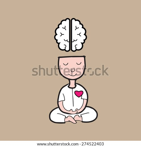 Man meditation for brain and heart harmony - stock vector