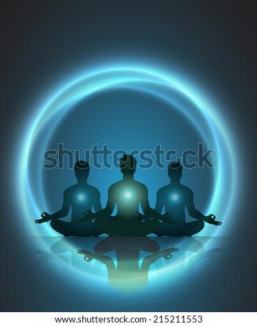 Man meditation. yoga. - stock vector